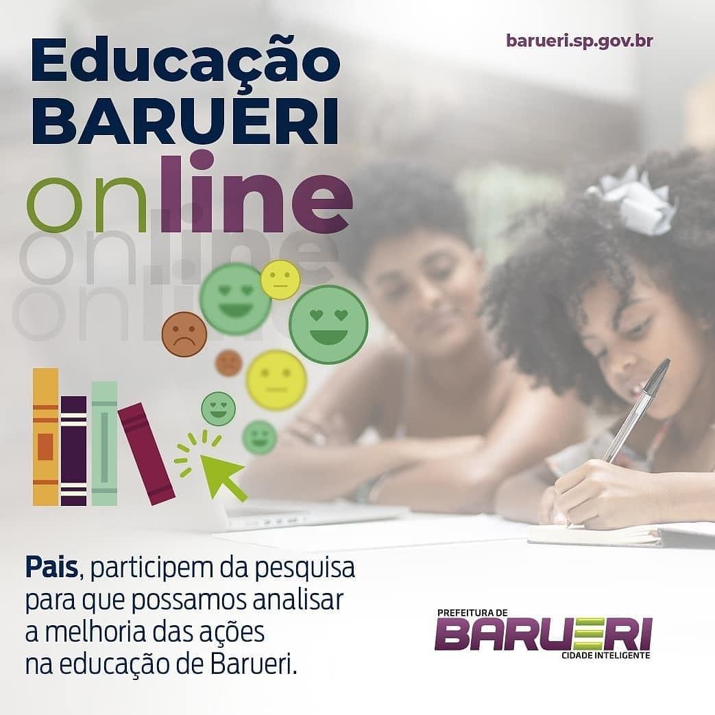 Educação de Barueri pede aos pais de alunos responderem pesquisa, visando ações de melhoria